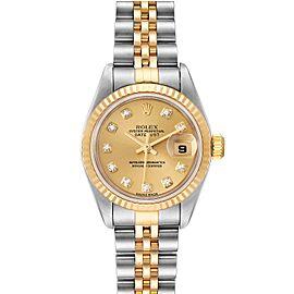 Rolex Datejust Steel Yellow Gold Diamond Dial Ladies Watch
