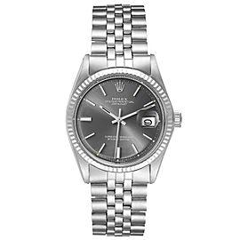 Rolex Datejust Steel White Gold Grey Sigma Dial Vintage Mens Watch 1601