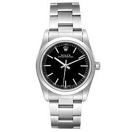 Rolex Midsize 31 Black Baton Dial Steel Ladies Watch