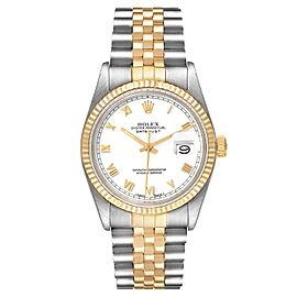 Rolex Datejust Steel Yellow Gold White Dial Vintage Mens Watch