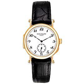 Patek Philippe Calatrava Officier Yellow Gold White Dial Mens Watch 3960