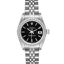 Rolex Date 26 Black Dial Oyster Bracelet Ladies Watch