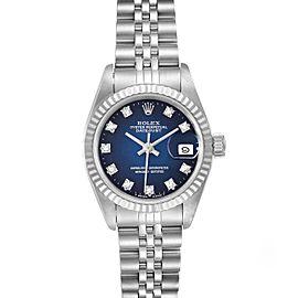 Rolex Datejust Steel White Gold Blue Vignette Diamond Ladies Watch