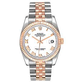 Rolex Datejust 36mm Steel Rose Gold White Dial Unisex Watch 116231
