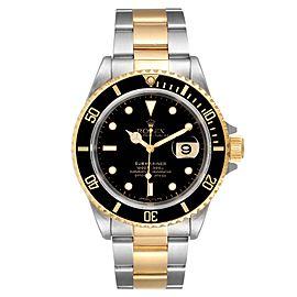 Rolex Submariner Steel Yellow Gold Black Dial Mens Watch 16613