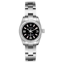 Rolex Nondate Steel White Gold Black Dial Ladies Watch