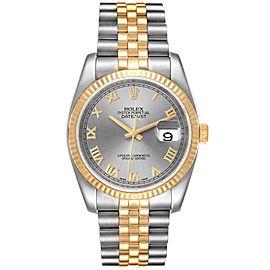 Rolex Datejust Steel Yellow Gold Slate Roman Dial Mens Watch