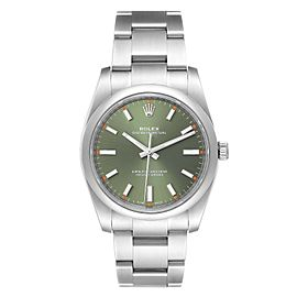 Rolex Oyster Perpetual 34mm Steel Olive Green Dial Mens Watch