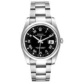 Rolex Date Black Dial Oyster Bracelet Steel Mens Watch