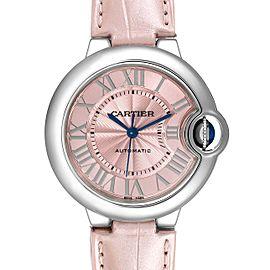 Cartier Ballon Bleu 33 Pink Dial Steel Ladies Watch