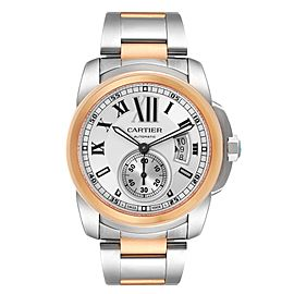 Cartier Calibre Diver Steel Rose Gold Silver Dial Mens Watch W7100036