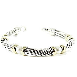 David Yurman Sterling Silver 14K Yellow Gold 7mm Pearl Hampton Bracelet