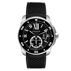 Cartier Calibre Diver Black Rubber Strap Steel Mens Watch