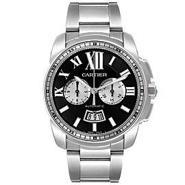 Cartier Calibre Black Dial Cronograph Steel Mens Watch W7100061