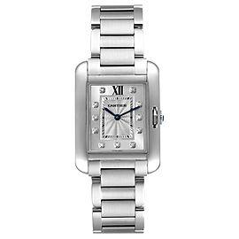 Cartier Tank Anglaise Medium Steel Diamond Ladies Watch W4TA0004