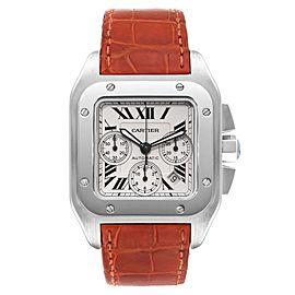 Cartier Santos 100 XL Silver Dial Chronograph Mens Watch