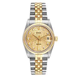 Rolex Datejust Midsize 31 Steel Yellow Gold Diamond Ladies Watch