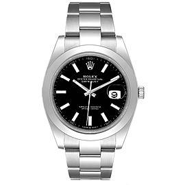 Rolex Datejust 41 Black Dial Steel Oyster Bracelet Watch