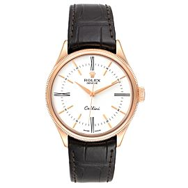 Rolex Cellini Time 18K EveRose Gold White Dial Mens Watch