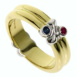 TIFFANY & Co. 18K Yellow Gold/18K White Gold Ruby Sapphire Ring TNN-2013