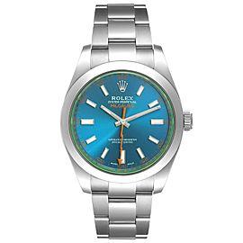 Rolex Milgauss Steel Blue Dial Green Crystal Mens Watch