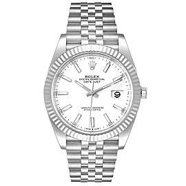 Rolex Datejust 41 Steel White Gold Jubilee Bracelet Mens Watch
