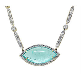 Pamela Huizenga 18K Yellow Gold Paraiba Tourmaline and 5.33ct. Diamond Necklace