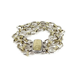Lagos Sterling Silver 18K Yellow Gold 3-Row Link Bracelet