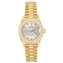 Rolex President Datejust Yellow Gold Silver Diamond Dial Ladies Watch