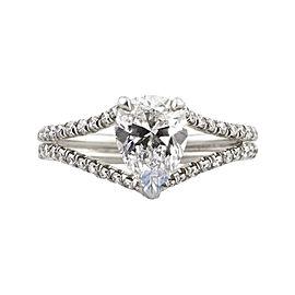 18K White Gold 1.77 Carat Pear Shape Diamond EGL Certified Engagement Ring