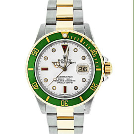 Rolex Submariner 16613 Stainless Steel & 18K Yellow Gold White Diamond and Ruby 40mm Mens Watch