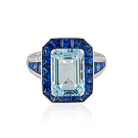 Roberto Coin Art Deco 18k White Gold Aquamarine, blue sapphire Ring