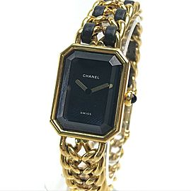 CHANEL Gold Plated x Leather Accessories Premiere Wrist watch