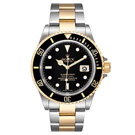 Rolex Submariner Steel Yellow Gold Black Dial Mens Watch