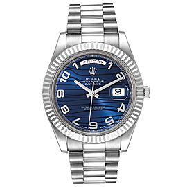 Rolex President Day-Date II White Gold Blue Dial Mens Watch