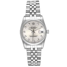 Rolex Datejust Midsize Steel White Gold Diamond Dial Ladies Watch