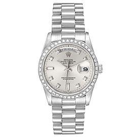 Rolex President Day-Date Silver Dial Platinum Diamond Mens Watch