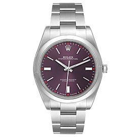 Rolex Oyster Perpetual Red Grape Dial Steel Mens Watch