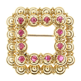 Tiffany & Co. 18K Yellow Gold with Ruby Square Pin Brooch