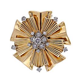 Tiffany & Co. 14K Yellow Gold with 0.70ct. Diamond Folded Ribbon Pin Brooch