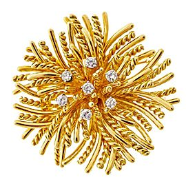 Tiffany & Co. 18K Yellow Gold with 0.50ct. Diamond Anemone Pin Brooch