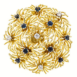 Tiffany & Co. 18K Yellow Gold with 0.64ct. Sapphire and 0.24ct. Diamond Flower Pin Brooch