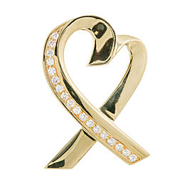 Tiffany & Co. Paloma Picasso 18K Yellow Gold with 0.72ct. Diamond Heart Pin Brooch