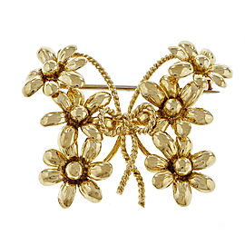 Tiffany & Co. 18K Yellow Gold Butterfly Daisy Flower Pin Brooch