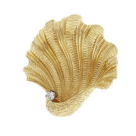 Tiffany & Co. 18K Yellow Gold with 0.16ct. Diamond Shell Pin Brooch