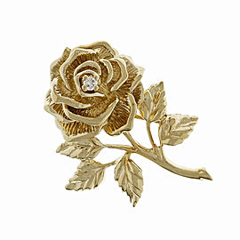 Tiffany & Co. 14K Yellow Gold with 0.08ct. Diamond Rose Flower Pin Brooch