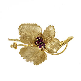 Tiffany & Co. 14K Yellow Gold with 0.25ct. Ruby Leaf Pin Brooch
