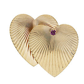 Tiffany & Co. 14K Yellow Gold with 0.12ct. Ruby Heart Pin Brooch