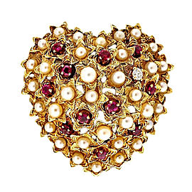 Tiffany & Co. 18K Yellow Gold with 0.07ct. Diamond Pearl and Ruby Domed Heart Pin Brooch