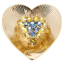 Tiffany & Co. 14K Yellow Gold with 1.65ct. Sapphire Heart Pin Brooch